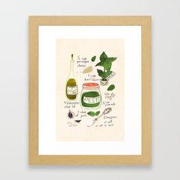 Pesto. Illustrated Recipe. Framed Art Print