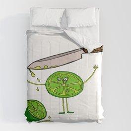 little lemon and the knife, knife, lemon, green, yellow, blood, scary Comforters