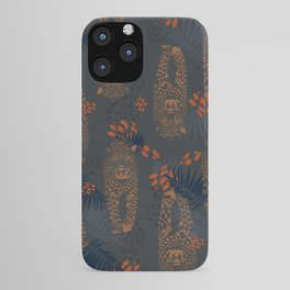 Midnight Leopard - Navy and orange Leopard and Palm pattern iPhone Case