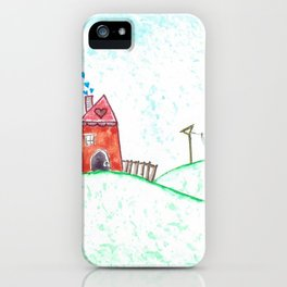 Happy Houses - Folk Art Print iPhone Case