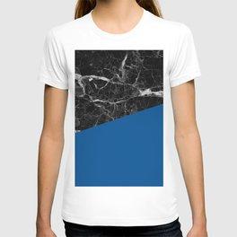 Black Marble and Lapis Blue Color T-shirt