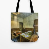 the office Tote Bags featuring Antique Office by Ian Mitchell