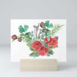 christmas bouquet with fir branches with cones and red roses Mini Art Print