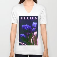 tulips V-neck T-shirts featuring TULIPS by CAPTAINSILVA