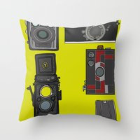 cameras Throw Pillows featuring Cameras by Illustrated by Jenny