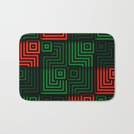 Red and green tiles with op art squares and corners Bath Mat