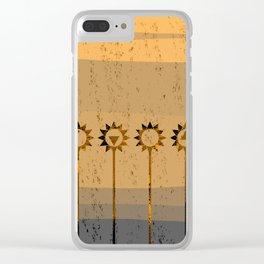 Sunflower Geometric Clear iPhone Case