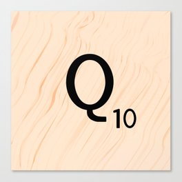 Scrabble Letter Q - Large Scrabble Tiles Canvas Print