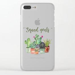 Squad Goals Cactus Print Clear iPhone Case