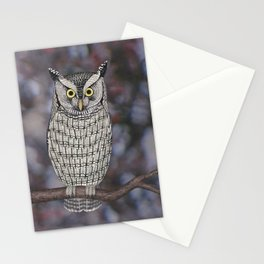 eastern screech owl on a branch Stationery Cards