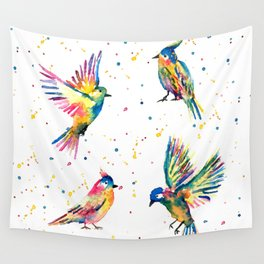 Four Colorful Birds Wall Tapestry