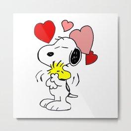 hug valentine snoopy peanut Metal Print