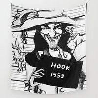 hook Wall Tapestries featuring Captain Hook by Gabrielle Wall