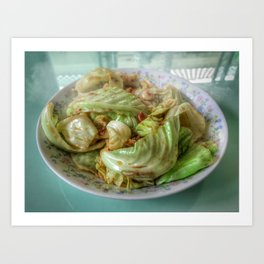 Stir-fry homemade organic Cabbage with chili pepper and garlic in oyster sauce. Art Print