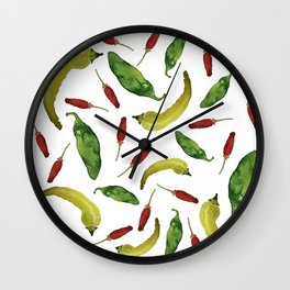Fresh Picked Peppers Wall Clock