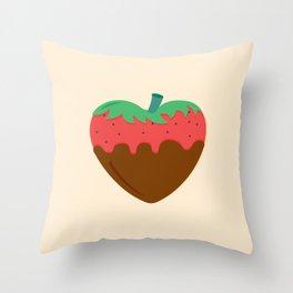 Choco Strawberry Heart Throw Pillow