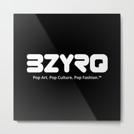 BZYRQ Logo (White on Black) Metal Print