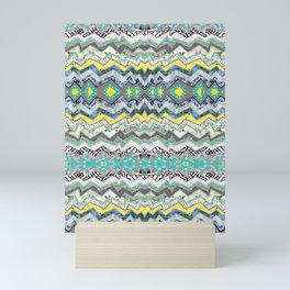 Teal Yellow White Midnight Aztec Mini Art Print