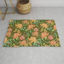 Australian Florals in Green Rug