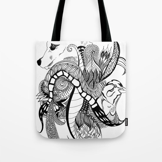 Inking Fox and Bird Tote Bag