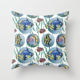 Watercolor seamless hand drawn pattern with tropical fish. Throw Pillow