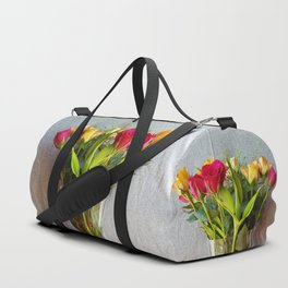Flowers in a vase - with red and yellow roses Duffle Bag