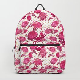 Beautiful Pink Australian Native Flowers on Gold Polka Dots - Protea, Grevillea, Eucalyptus Backpack