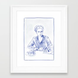 Simone de Beauvoir - portrait bleu Framed Art Print