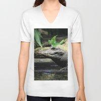 crocodile V-neck T-shirts featuring Crocodile by Falko Follert Art-FF77