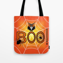 Boo, says the owl. It's Halloween! Tote Bag