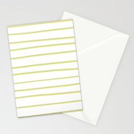Natural Olive Green - Martinique Dawn - Asian Silk Hand Drawn Horizontal Lines on White Stationery Cards