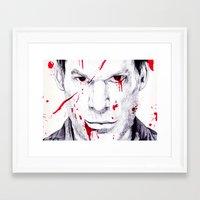 dexter Framed Art Prints featuring Dexter by DeMoose_Art