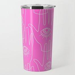 Pink Retro Hands Travel Mug