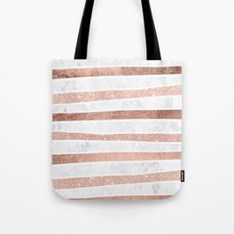 Modern faux rose gold glitter foil marble stripes pattern Tote Bag