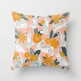 Bunnies & Blooms – Teal & Blush Throw Pillow
