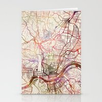 cincinnati Stationery Cards featuring Cincinnati by MapMapMaps.Watercolors
