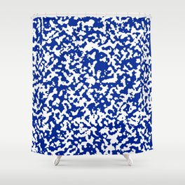 White and Blue Abstract Art Shower Curtain