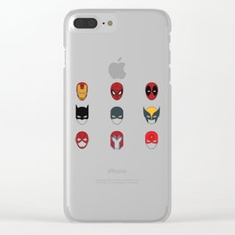 Superhero Masks 3 Clear iPhone Case