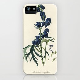 Monk's-hood (Aconitum napellus) illustration from Medical Botany (1836) by John Stephenson and James iPhone Case