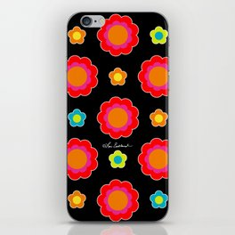 Colorful Flowers on Black iPhone Skin