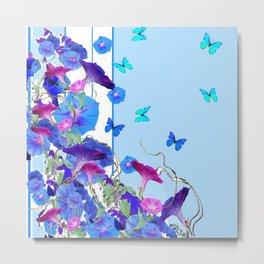 BLUE BUTTERFLIES & PURPLE MORNING GLORIES Metal Print