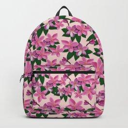Pink Plumeria Flower Backpack