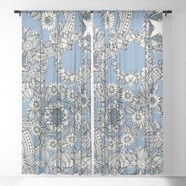 cirque fleur blue Sheer Curtain