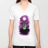 frankenstein V-neck T-shirts featuring Frankenstein  by JT Digital Art