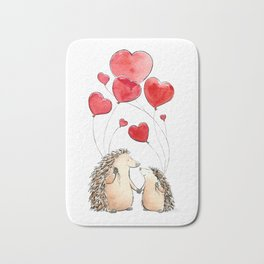 Hedgehogs in Love, illustration of hedgehog sweethearts with balloons. Bath Mat
