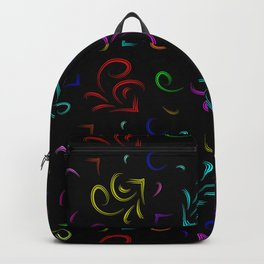 Multicolored hieroglyphs in the form of sketchy houses in neon design on a black background. Backpack