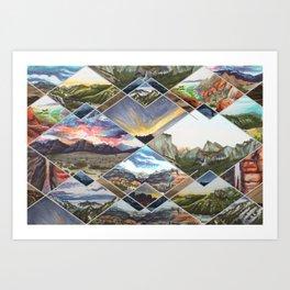 Diamond Mountains Art Print
