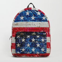 Distressed American Flag On Old Brick Wall - Horizontal Backpack