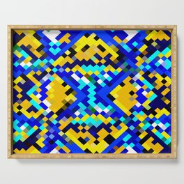 square pixel pattern abstract in blue and yellow Serving Tray