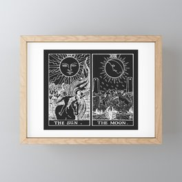 The Sun and Moon Tarot Cards | Obsidian & Pearl Framed Mini Art Print